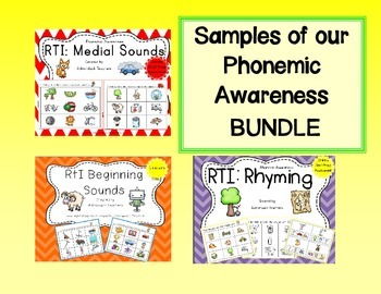 Freebie Sample Pages of our RtI Phonemic Awareness Bundle