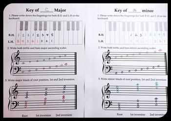 Freebie Scales and Triad worksheet Major and Minor