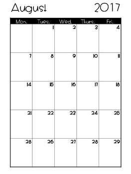 Freebie School Calendar