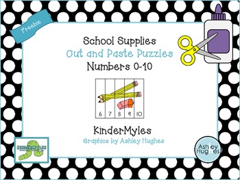 {Freebie} School Supply Cut and Paste Puzzles Numbers