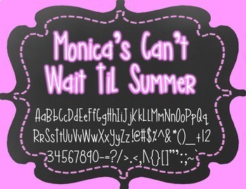 Monica's Can't Wait Til Summer {Font for Personal and Comm