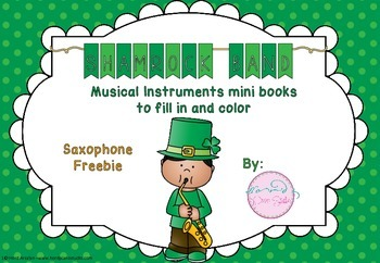 Freebie- Shamrock Band - Saxophone mini book to color in and fill