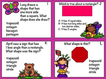 Freebie: Geometry Task Cards with Optional QR Codes: Shapes
