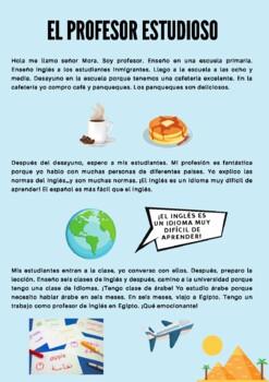 Freebie! Short Reading Spanish -Ar verbs: El profesor estudioso