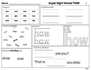 Freebie Sight Word Practice