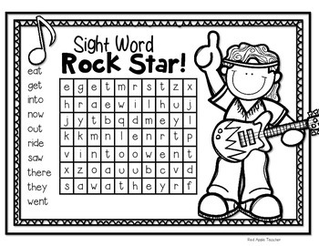 Freebie--Sight Word Rock Star--Dolch Primer Word Search for K-2