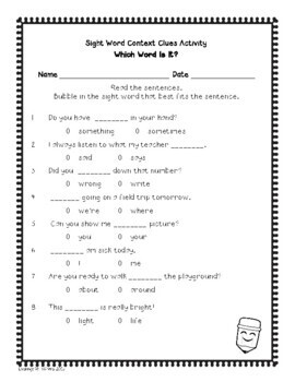{Freebie!} Sight Words in Context:  Printables for Students in Grades 1-4
