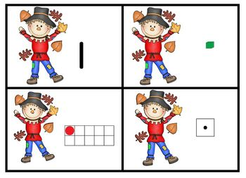 Silly Scarecrow Math Game Cards Numbers Ten Frames Sets Dice