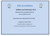 Freebie Silly Snowflake Addition and Subtraction Fact Match Ups