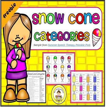 Freebie Snow Cone Speech Therapy Categories