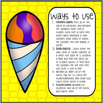 Snow Cone Categories Speech Therapy