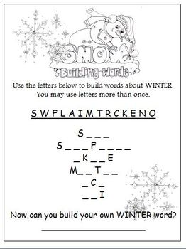 Freebie SnowFriends Building Words Worksheet(s) by HeatherSArtwork