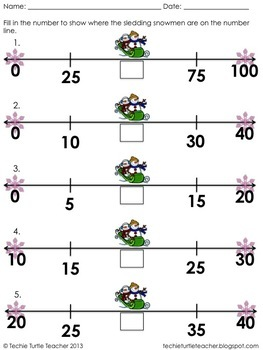 Freebie - Snowman Sledding Number Lines - Fill in Missing Number