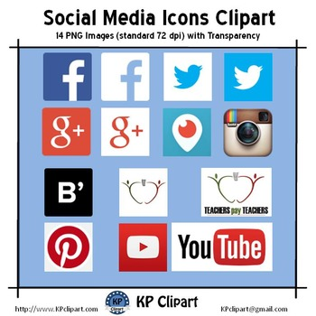 Freebie: Social Media Icons Clipart - Instagram, Facebook, Periscope and others