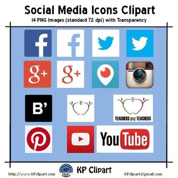 Freebie: Social Media Icons Clipart - Instagram, Facebook,