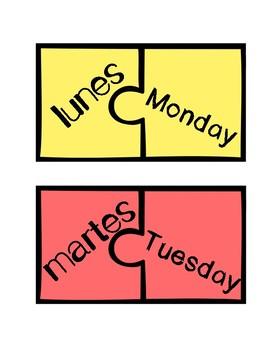 Freebie: Spanish/English DAYS OF THE WEEK PUZZLE