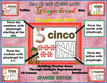 Freebie: Spanish Gingerbread Number Sense Playdough Mats 1-5