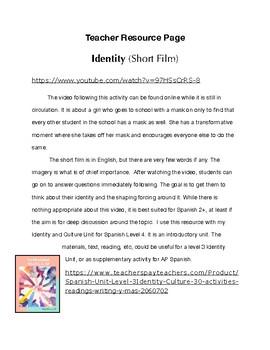 Freebie Spanish IV, AP Identity: video and activities/ Movie Talk