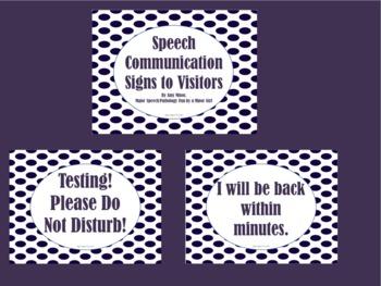 *Freebie* Speech Communication Signs to Visitors