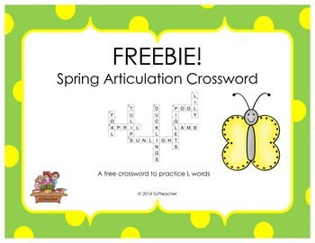 Freebie Spring Articulation Crossword