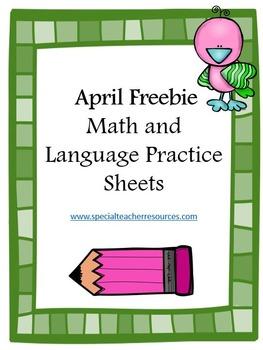 Freebie- Spring Math and Language Worksheets
