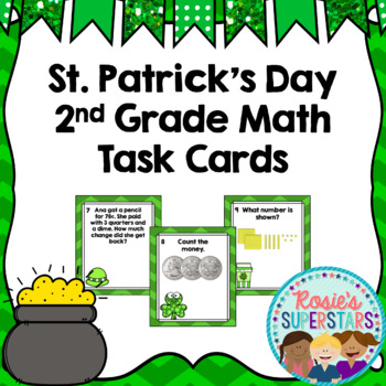 St. Patrick's Day 2nd Grade Spiral Math Task Cards Freebie!