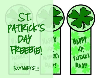 Freebie! St. Patrick's Day Bookmarks~A gift that promotes reading!