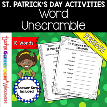 St. Patrick's Day Word Unscramble Freebie