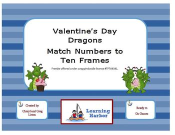 Freebie St. Valentine's Day Dragons - Matching Numbers to Ten Frames