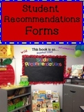 Freebie Student Book Recommendation Forms for Bulletin Board