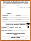 {Freebie} Student Information Sheet {Harry Potter Theme}
