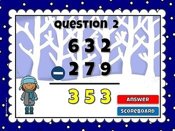Freebie - Subtraction within 1000 Teacher vs. Student Powerpoint Game