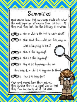 Freebie Summarizing Classroom Poster
