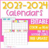 2021-2022 EDITABLE & Printable Monthly Calendars Color Bla