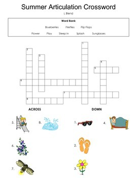 Freebie! Summer Crossword Puzzle