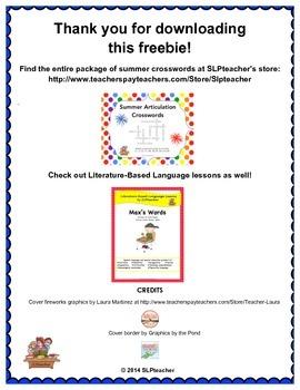 Freebie! Summer Crossword Puzzle