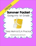 Freebie: Summer Packet - Going into 1st Grade