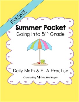 Freebie: Summer Packet - Going into 5th Grade