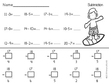 Freebie Summer Subtraction from 20