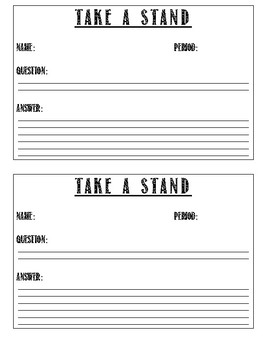 Freebie!!! Take a STAND!  Kinesthetic Spin on Q & A!