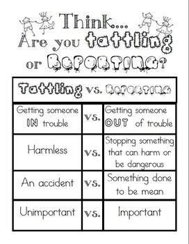 Freebie Tattling vs Reporting (black & white) Worksheet