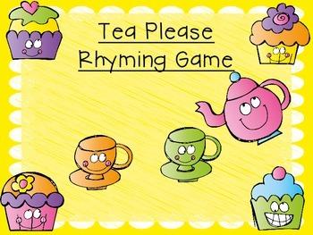 Freebie Tea Please Rhyming Game
