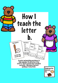 Freebie, Teaching the letter b, poster with worksheet.
