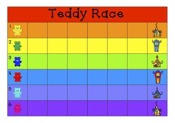 Freebie - Teddy Race – Early Number Recognition and Subitising Maths Center