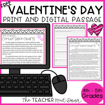 Freebie: Text Evidence for Conversation Hearts for 4th - 5th Grade