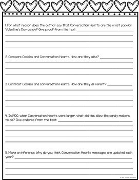 Freebie: Text Evidence for Conversation Hearts