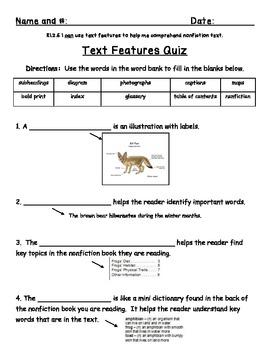 {Freebie!} Text Features Quiz