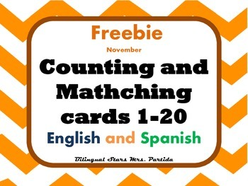 Freebie Thanksgiving Math Flash Cards English and Spanish