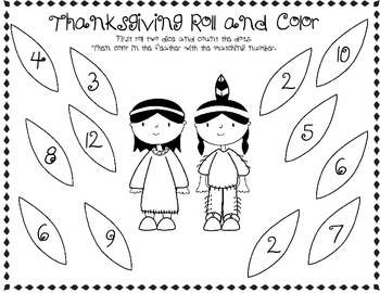 Freebie ~ Thanksgiving Roll and Color