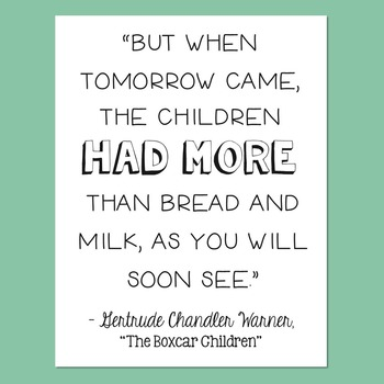Freebie! The Boxcar Children by Gertrude Chandler Warner Quote Poster